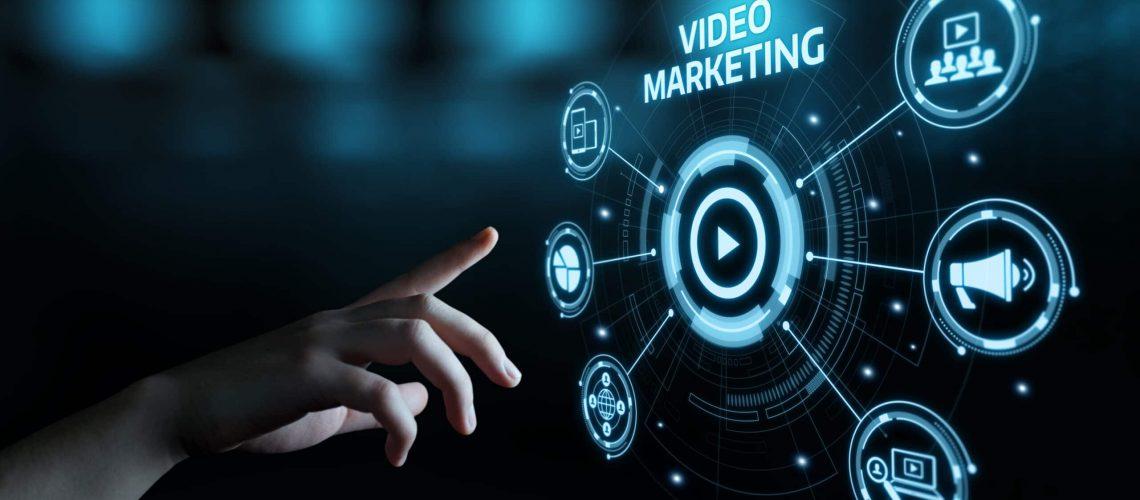 Video Marketing Advertising Businesss Internet Network Technology Concept.